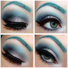 year glitter, eye colors, glitter makeup, beauti, teal eyebrows, blues, new years, eyebrow color, blue eyebrow