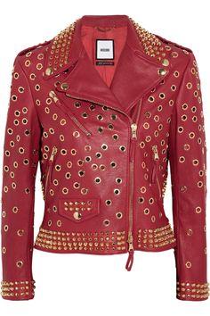 MoschinoEmbellished leather biker jacket