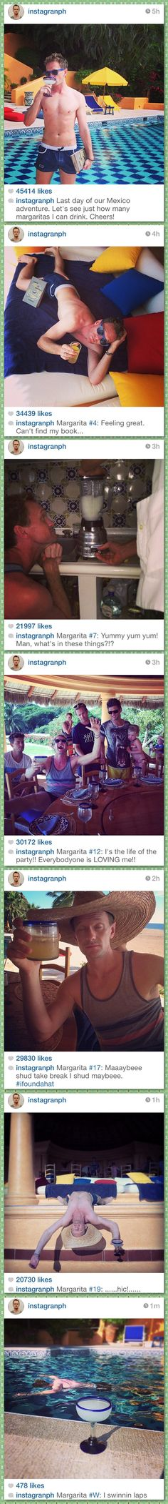 Neil Patrick Harris documents his last day of vacation in Mexico… So bad, yet so funny! I'd do that if I were in Mexico also!