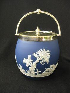 Adams Jasperware Biscuit Jar, C. 1890 on rubylane.com. Gorgeous Wedgewood
