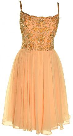 1960s Vintage Victoria Royal Peach Party Dress