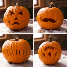 4 fun ways to carve a pumpkin for Halloween.