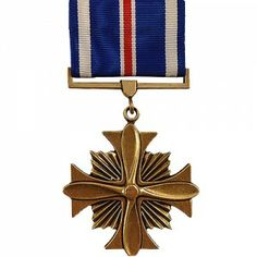 """The Distinguished Flying Cross Medal (DFC) is an award that is bestowed upon any officer of enlisted personnel of the United States Armed Forces who distinguishes themselves in support of operations by """"heroism or extraordinary achievement while participating in aerial flight."""" The first person to actually be presented with the medal was Charles Lindbergh after returning from his trans-Atlantic Flight."""