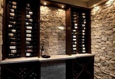 Wine closet idea....I like the rock and simplicity!