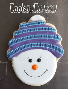 Simply Winter Cookies: Snowman with Knit Cap (Tutorial) from CookieCrazie