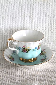 CHINA TEA CUP Royal Albert Teal White Gold