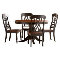 5+Piece+Countryside+Round+Table+Set+-+Antique+Black