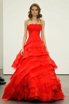 Cardinal red wedding dress  Vera Wang Spring 2013 Collection