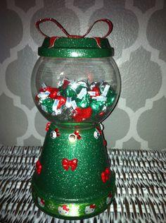 Christmas Green Hello Kitty gumball candy dish clay pot