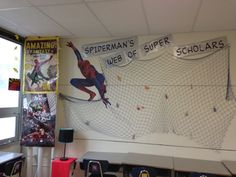 My superhero classroom- used fish net from US Toy- already has super scholar work pinned onto it with the clothespins. Way easier than stapling work on a bulletin board.
