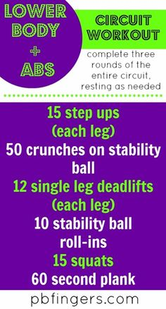 Lower Body + Abs Circuit Workout