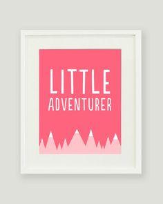 Little Adventurer - Baby Nursery Print - Wall Art - Mountains, Explorer, Adventurer
