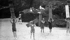 Surfers on the north coast of Cornwall, 1919 Daily Mail UK