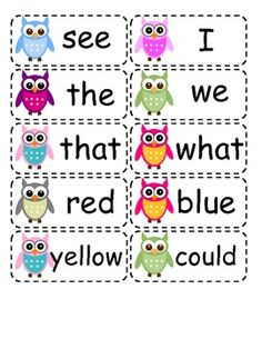This is a list of full color, owl themed high frequency words for the Kindergarten level. (free!!)