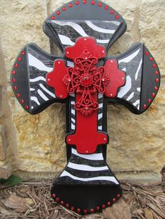 Black Stacked Wooden Wall Cross with Red Rhinestones by Anarchy307, $55.00