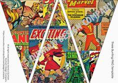 Comic Superhero PICTURE Bunting INSTANT by DunhamDesignCompany