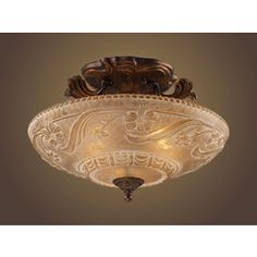Lowes Westmore Lighting�16-in W Golden Bronze Frosted Glass Semi-Flush Mount Ceiling Light