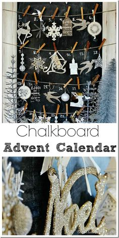 Chalkboard Advent Calendar- Great Holiday Decorating Idea! @ www.thistlewoodfarms.com