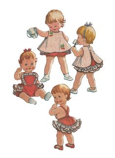 Vintage 1960s McCalls 2441 Toddlers Cherry Themed Ruffled Sunsuit Diaper Cover with button Back Dress Sewing Pattern Size 1
