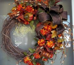 Bright Oranges, Golds, Browns on a Grapevine wreath