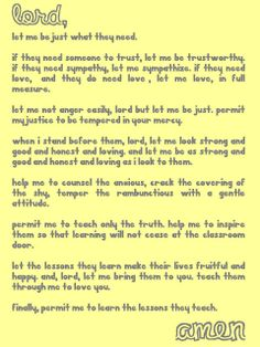 A teacher's prayer for the first day of school. @Wendy Felts Felts Iverson
