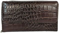 Women's Moc Croc Clutch Wallet with Checkbook Cover & Credit Card Organizer - http://handbagscouture.net/brands/private-label/womens-moc-croc-clutch-wallet-with-checkbook-cover-credit-card-organizer/