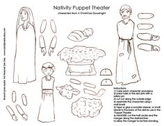 Free printable Christmas / Nativity puppet theater set pages.  Great for Catholic educators :)