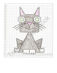 (3) Graphing animals:  a Cat,  a Bat, and a Swan  All quadrant One from K and C's  Shop on TeachersNotebook.com -  (7 pages)  - These graphing cartoon pictures are all in the first quadrant.