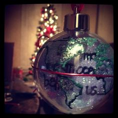 """""""There may be an ocean between us..."""" (This is the front of the ornament I made for Cayden.)"""