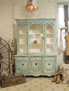 Painted Cottage Chic Shabby Aqua China Cabinet  CC345