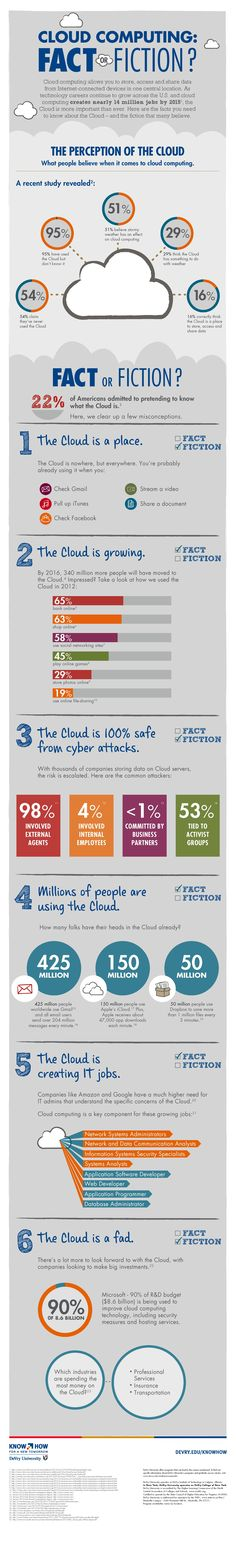 Cloud Computing: Fact or Fiction? infographic clouds, cloud infograph, fact, cloudcomput, social media, cloud computing, fiction, socialmedia, technolog