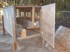 easy to make chicken coop   large door on both ends makes for easy cleaning and viewing