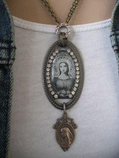 Devotion... vintage assemblage necklace
