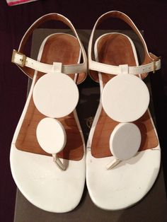 60s space age white patent leather sandals