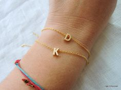 Tiny gold letter bracelet Gold initial by LilasChocolatFrance, $14.50