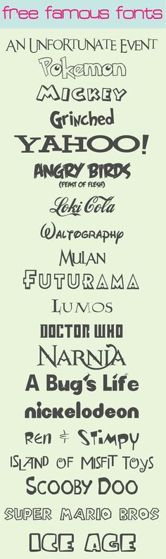 Free Famous Fonts ~ These are great for themed birthday parties!