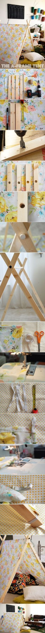 DIY  a frame tent. Folds up neatly to store after the kids play fort in the living room