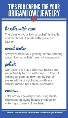 Care of Origami Owl jewelry