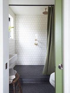 Cost effective wall tiles & hexagon floor.   Photo Gallery: Mandy Milk's Bathroom Makeover | House & Home.