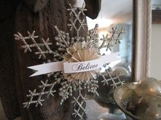 Glitter snowflake ornament BELIEVE by Paper EclectiquesDeux