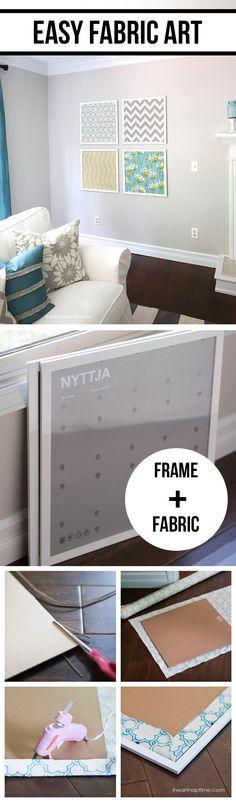 Easy DIY fabric art tutorial on iheartnaptime.com ... love this idea! Easy and cheap!