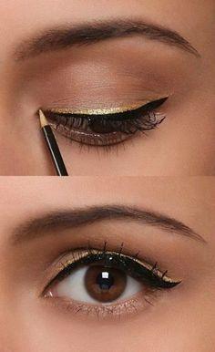 black + gold eyeliner