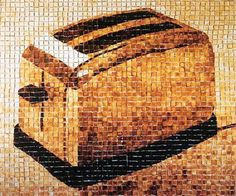 Toaster mural made out of... well... toast! (and 2500 pieces of 'em!)