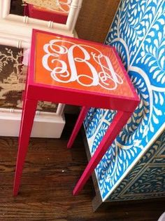 Monogram Table--an Easy Diy With A Cheap Table And A Vinyl Monogram!