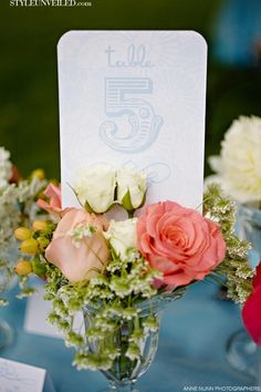 Spring Wedding Tablescape - Pink and Blue Details