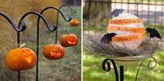 101 outdoor halloween decorations - ghosts lining the driveway, ghosts hanging from tree, little bat hanging from lamp - happy, happy decorations to not scare little ones
