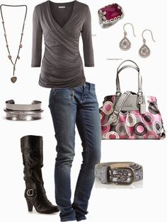 Casual Outfits | Gray Storm  H&M top, SKINNY jeans, G BY GUESS boots, Coach bag, Gilly belt  by bbricker39