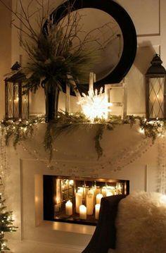 mirror, lantern, fireplace mantles, christmas fireplace, candl, happy holidays, christmas ideas, christmas mantles, christmas mantels