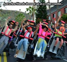 just a few friends dressed up as a rollercoster! :D