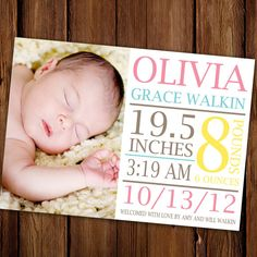 Baby Girl Birth Announcement  cute layout